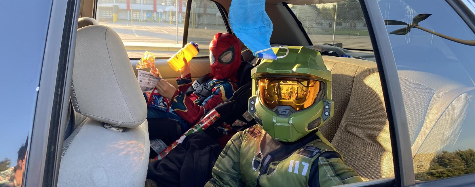 Students at Rio Hondo School dressed as Master Chief and Spider-Man