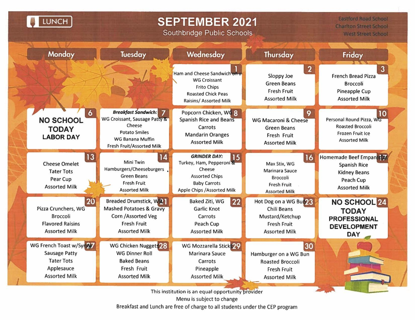 September 2021 menus for secondary schools. PDF version also available on this page.
