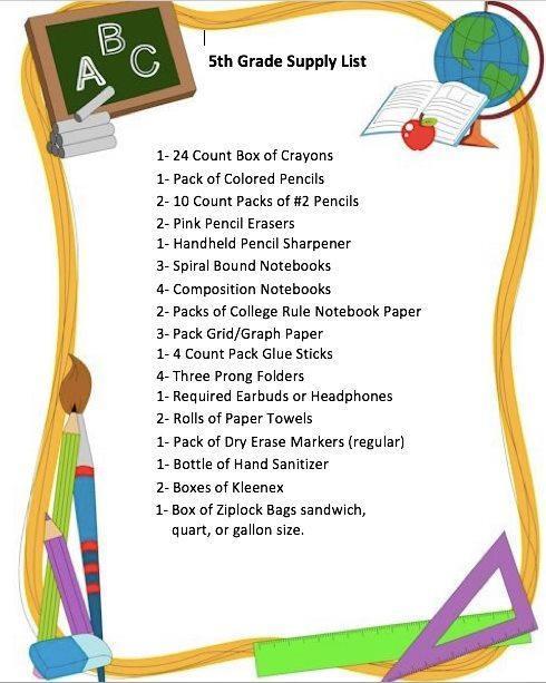 Fifth Grade Supply List