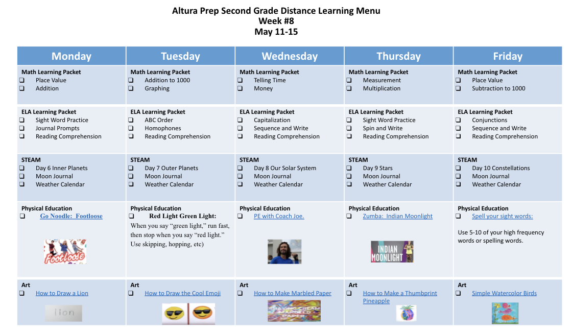 2nd grade distance learning menu