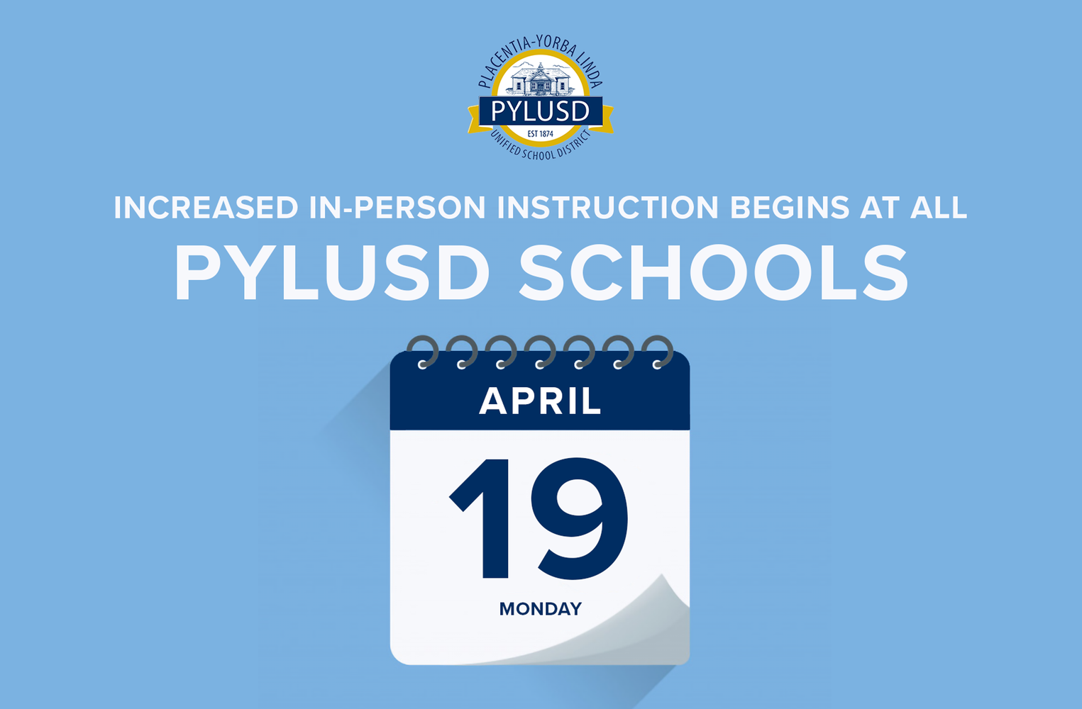 Increased in person instruction begins April 19.