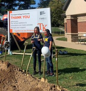 Emma Bowman and  Audrey Kenyon thank the community for supporting TK Schools.
