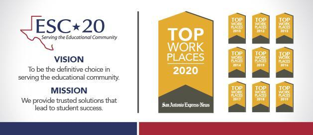 ESC-20 Top Workplace Awards and ESC-20 Mission and Vision statement