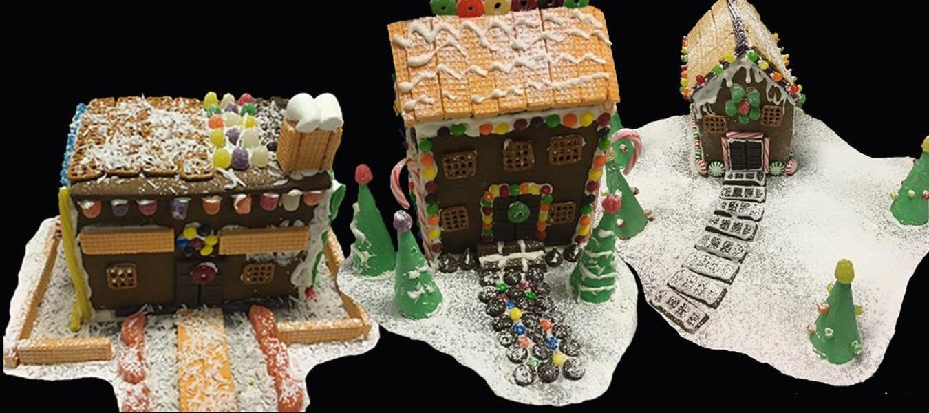 Gingerbread houses made by our Culinary Arts students