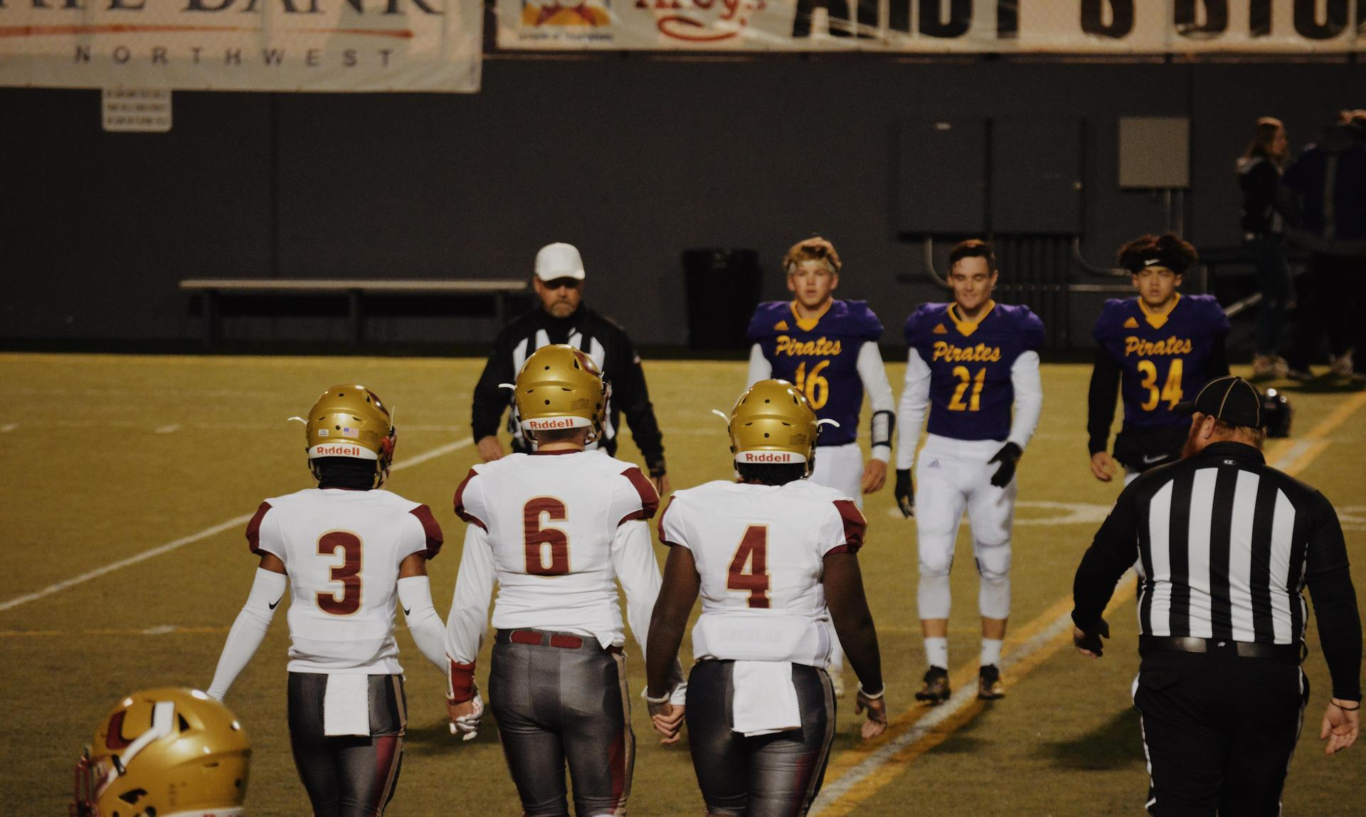 Captains walking to midfield