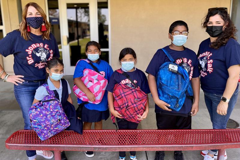 Salk Families Display New Backpacks