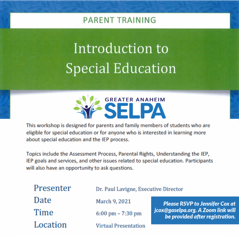 SELPA Parent Webinar on SPED