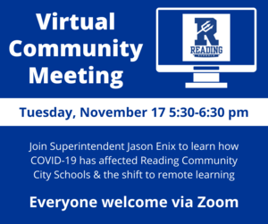 Virtual Community Meeting with Superintendent Jason Enix via Zoom on November 17, 2020 from 5:30pm until 6:30pm