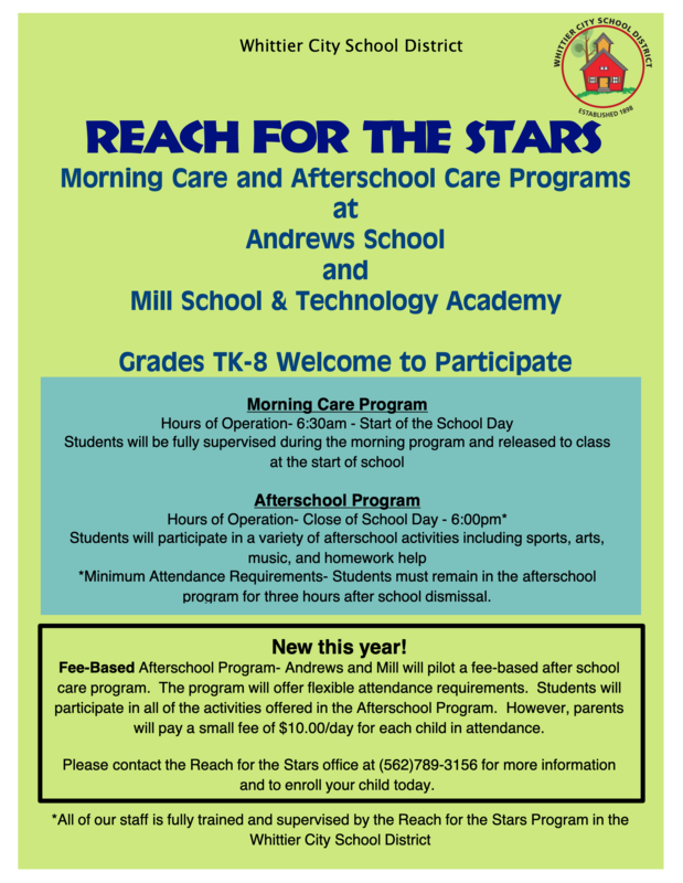 Reach for the stars Morning & Afterschool care programs