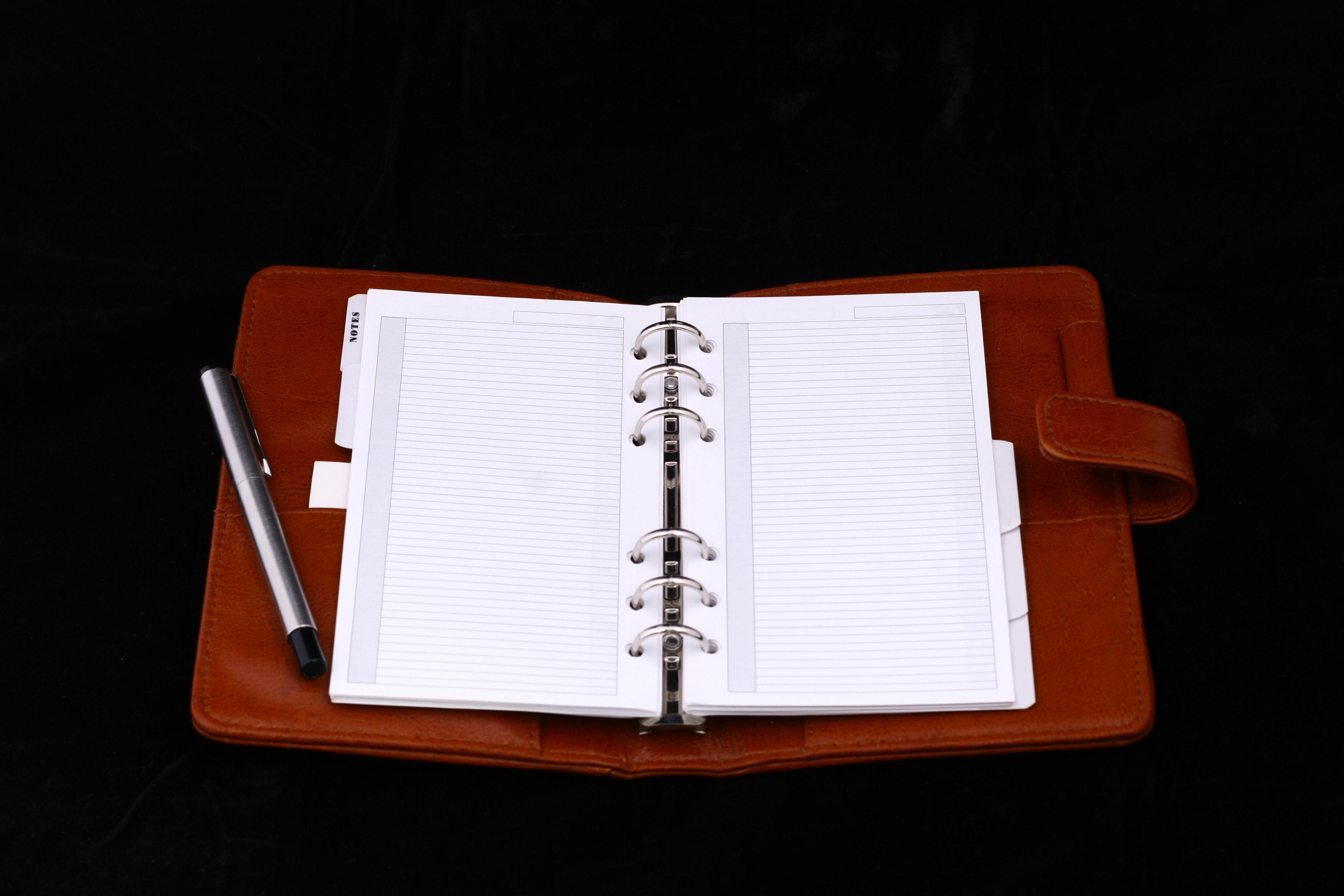 Ledger book with notes