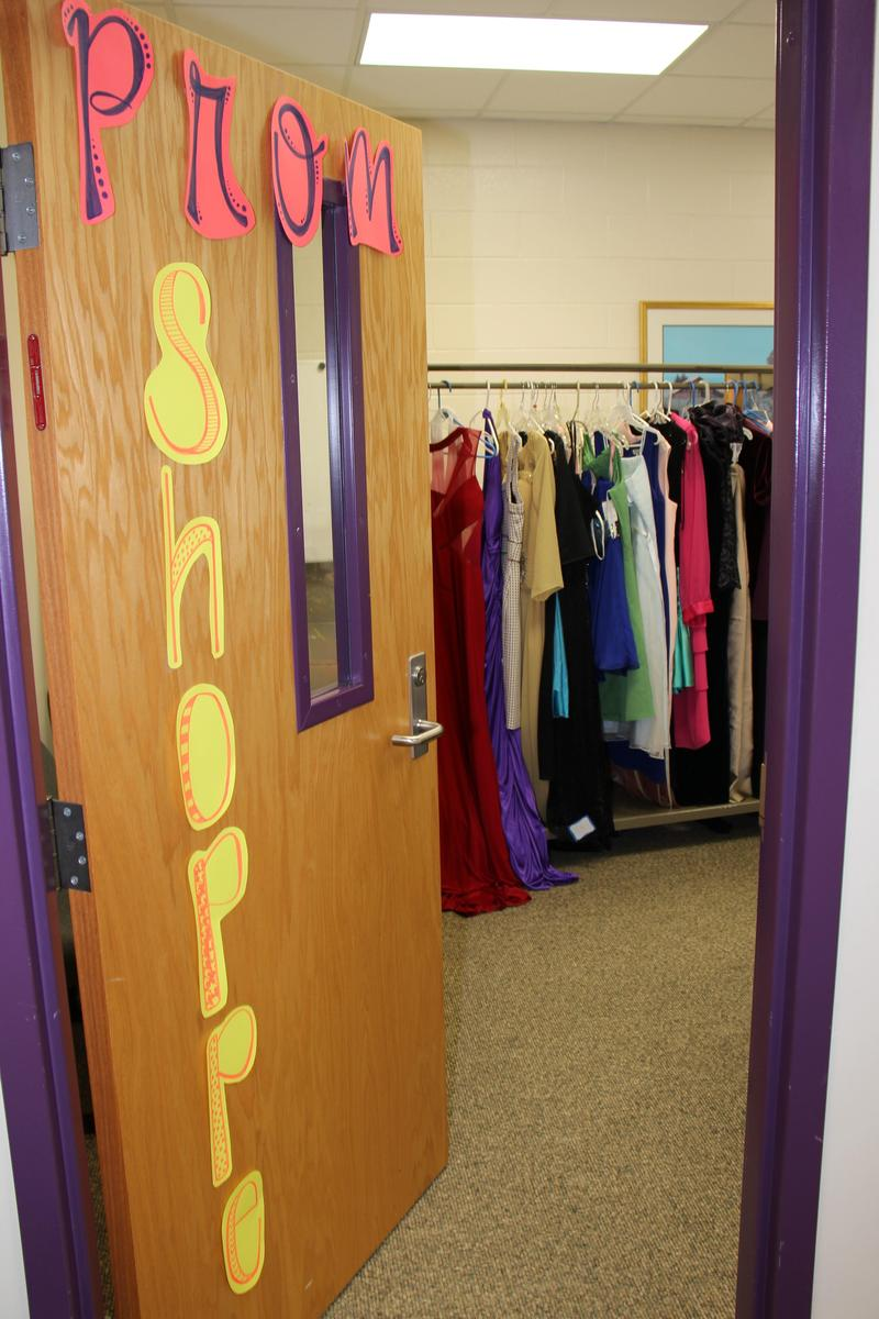 """The B-L High School Counseling Office has set up a makeshift """"Prom Shoppe"""" for local junior and senior students who need help finding a dress and shoes for prom.  All of the items are free of charge."""