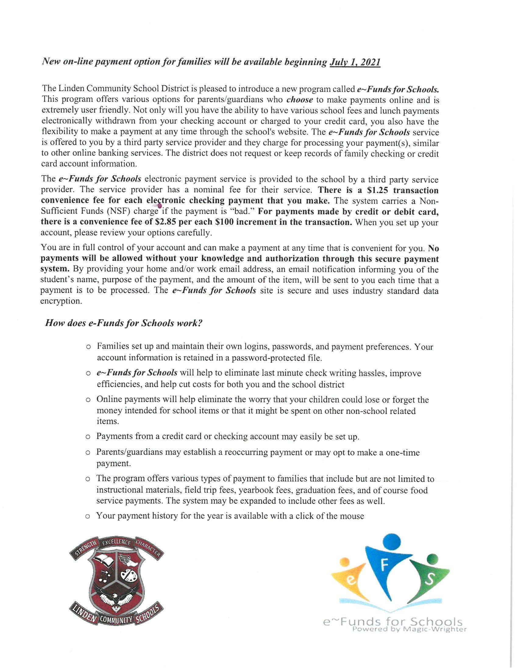 Letter describing eFunds service