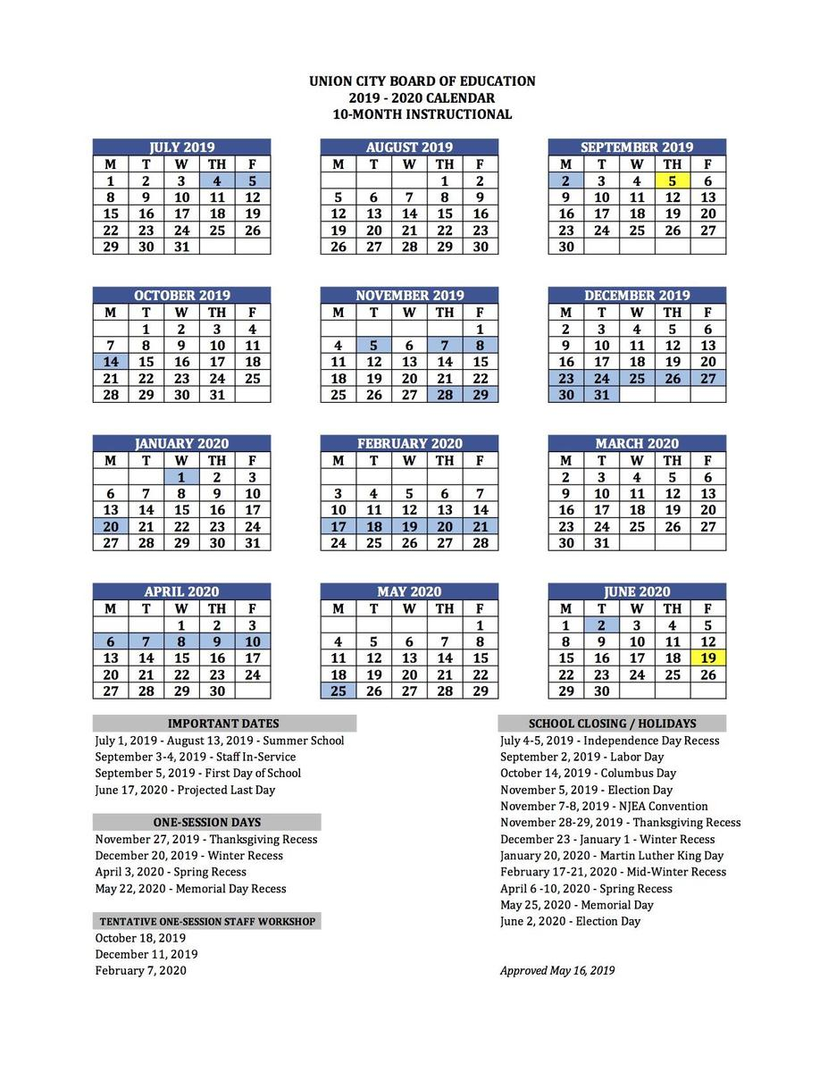 Calendario Fin 2020.Printable School Calendar Basics Union City Public Schools