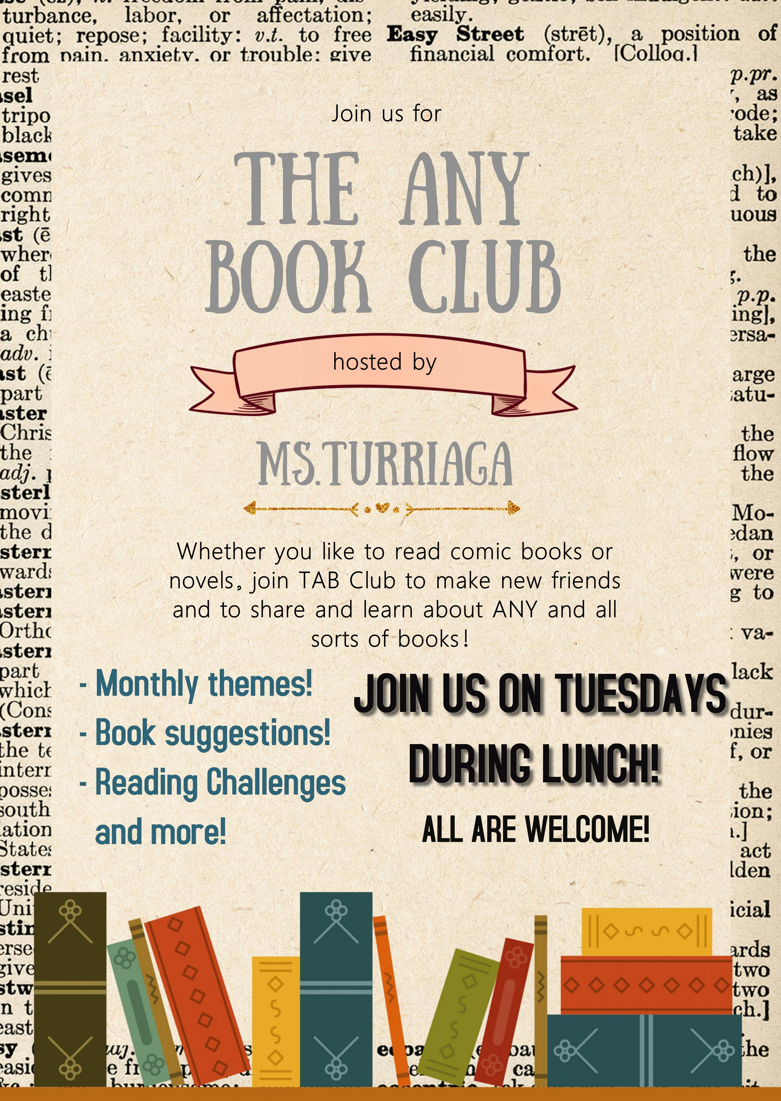 Join The Any Book Club during Lunch on Tuesdays!