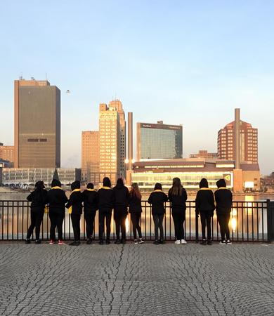 Picture of NSCW dancers looking at the Maumee River, downtown Toledo.