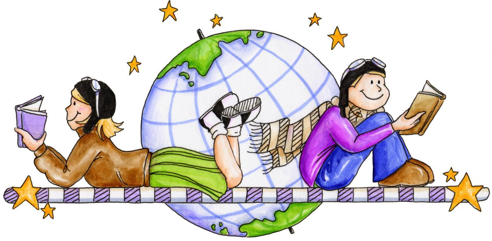 Children around the world reading
