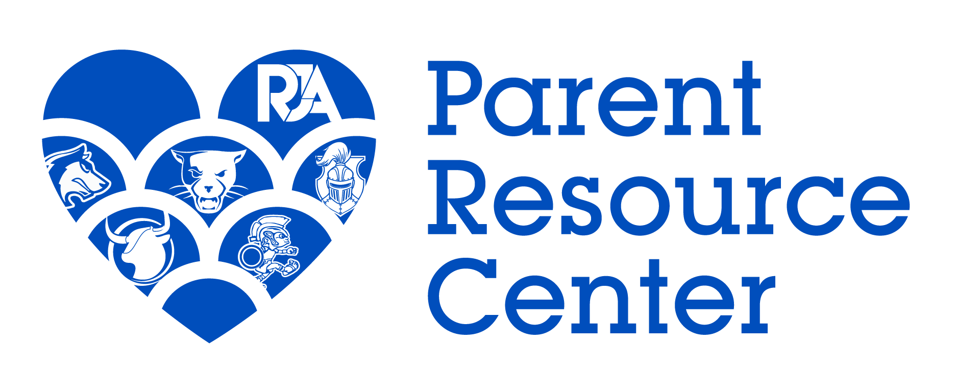 RJA Parent Resource Center logo in Journey school colors (blue). To the left is a hear with all the school logos inside and to the right reads Parent Resource Center.