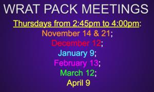 WRAT Pack Meeting Dates