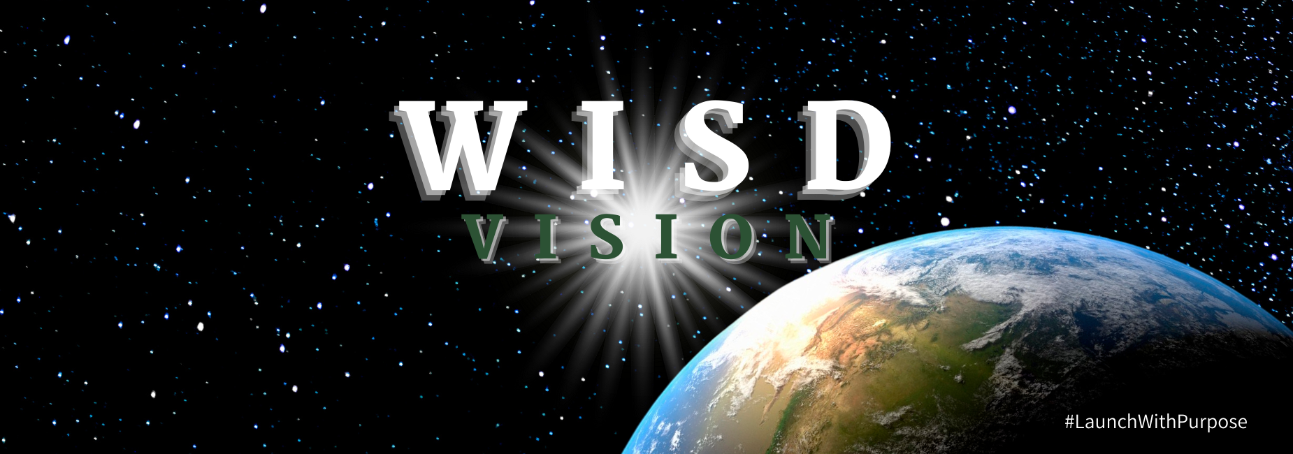 graphic with view of earth from space reds W I S D vision