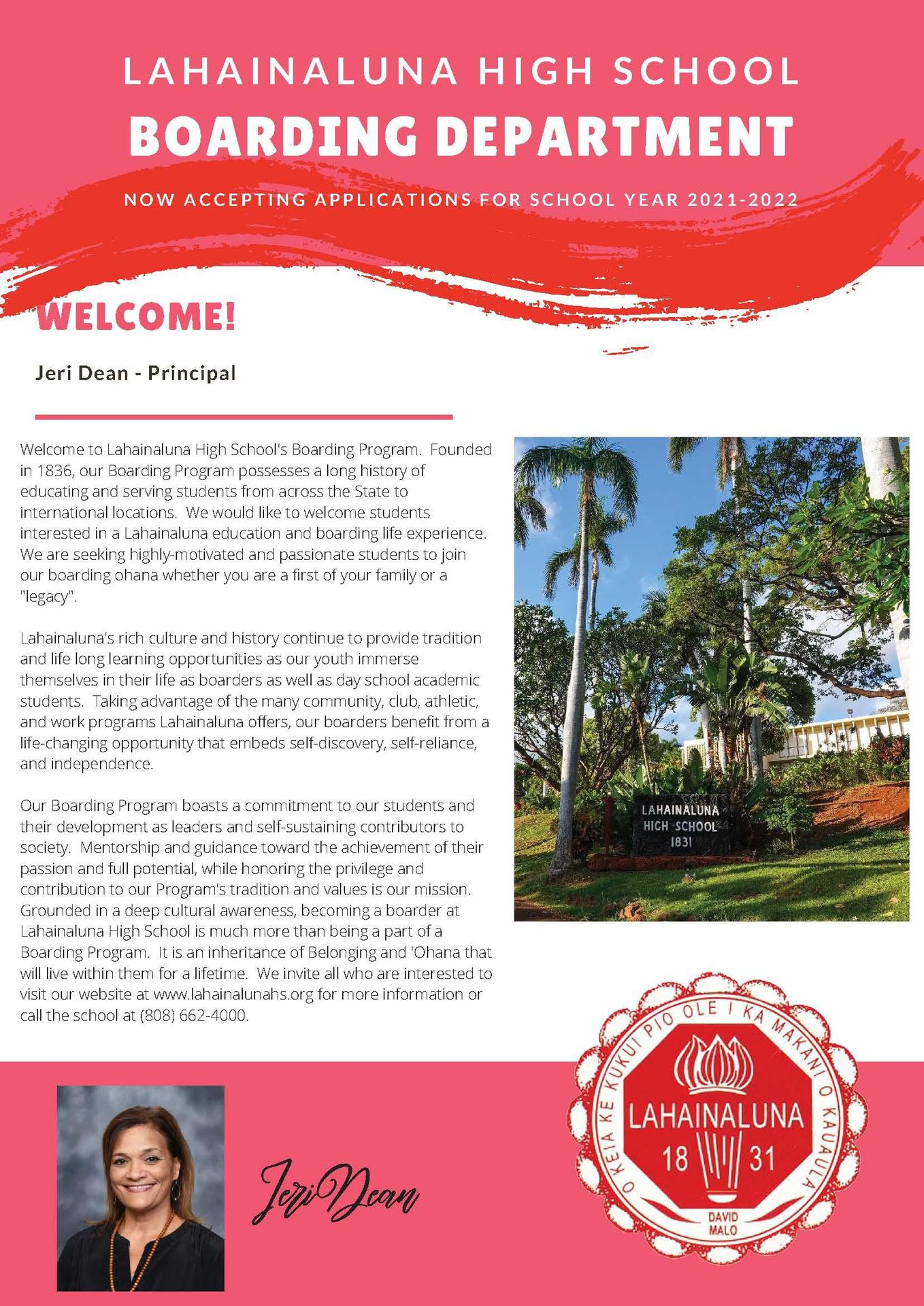 Lahainaluna High School Boarding Welcome Page 1