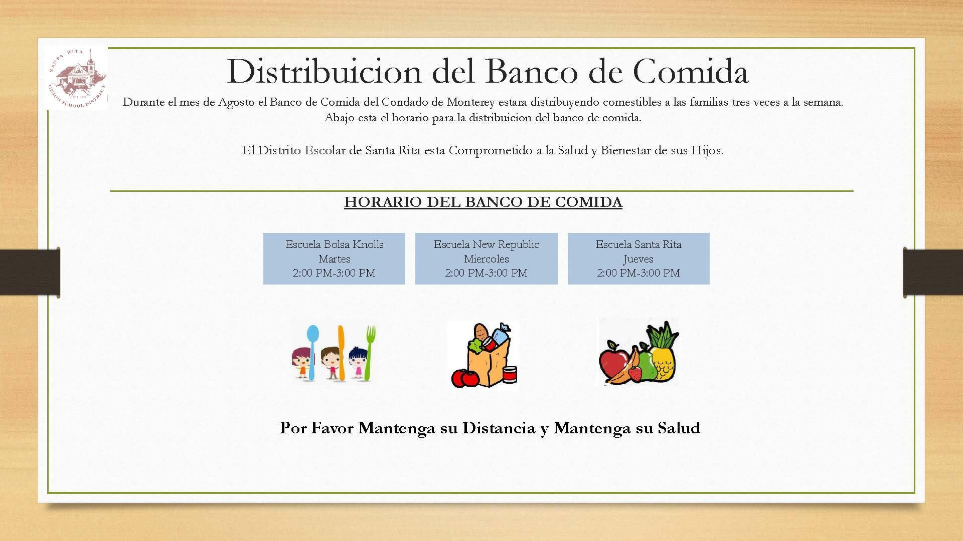Food Bank Information - Spanish