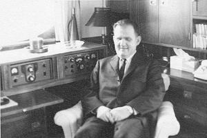 Gunderson at home next to his radio