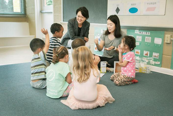 Sharon Huang sits in on a Mandarin preschool immersion class