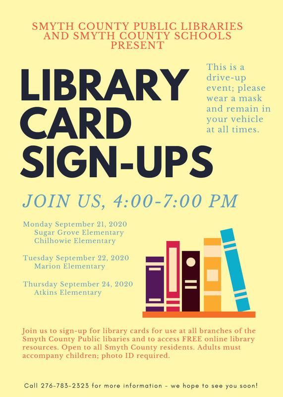 library card sign up flyer with location, dates and times