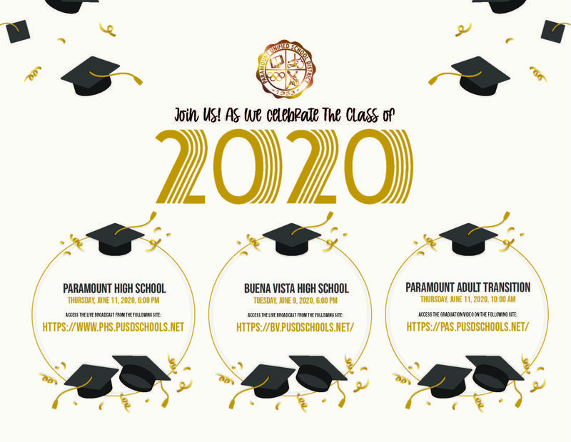 PUSD Virtual Graduation Ceremonies to Honor the Class of 2020 Featured Photo