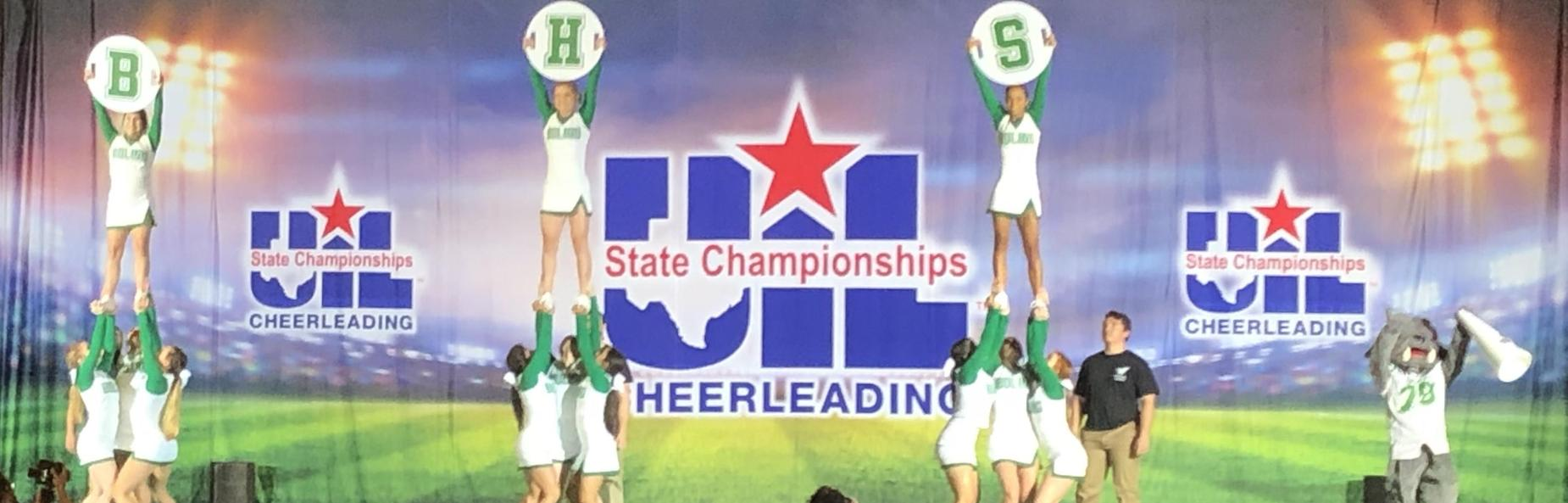 high school cheerleaders at state championship competition