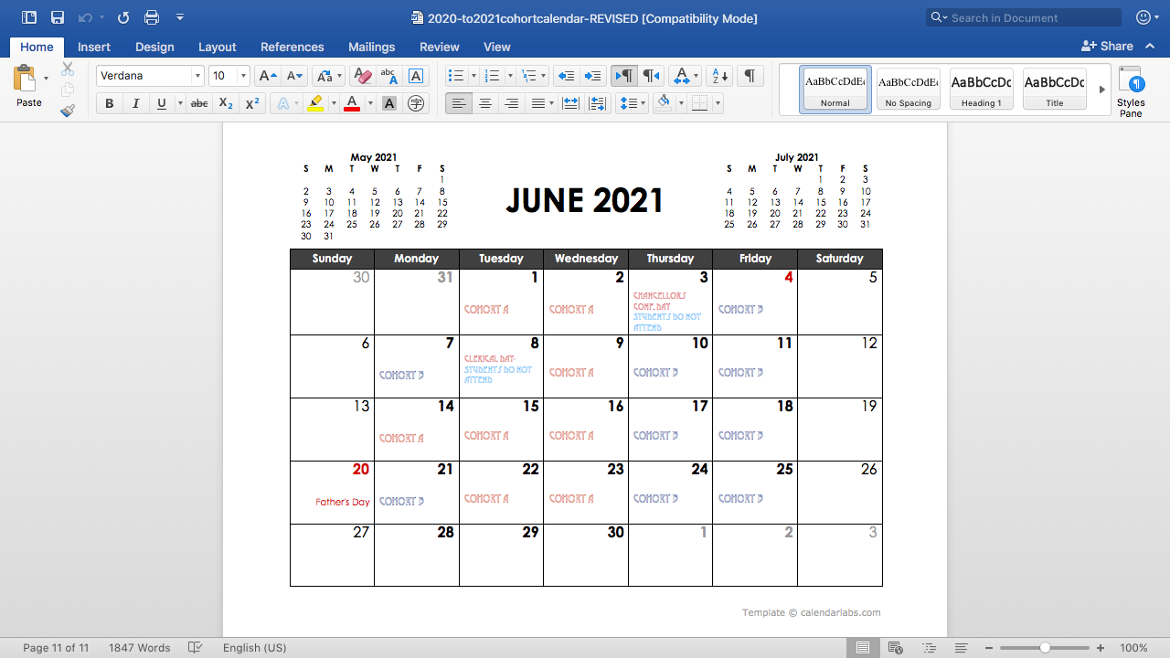 June cohort calendar