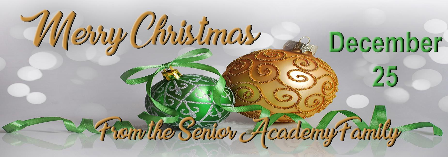 Merry Christmas from the Senior Academy Family December 25th