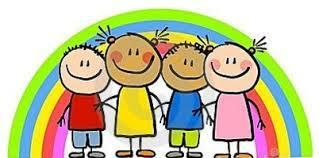 Drawing of four smiling children standing in front of a rainbow