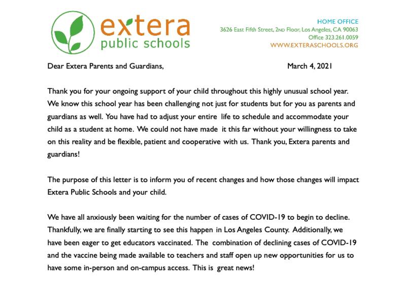 Parent Letter Return to Campus/Carta para Padres Regresar al Plantel Featured Photo