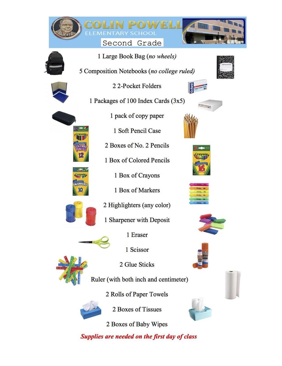 2nd grade supplies list for 2018-2019 & link