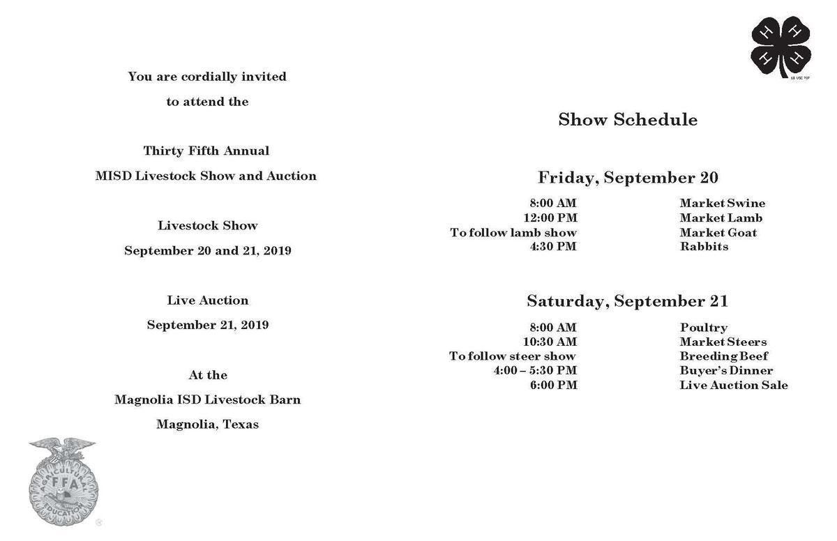 Magnolia ISD FFA Livestock Show Invitation and Schedule of Events