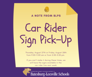 BLPS Car Rider Sign Pick-Up Event To Be Held