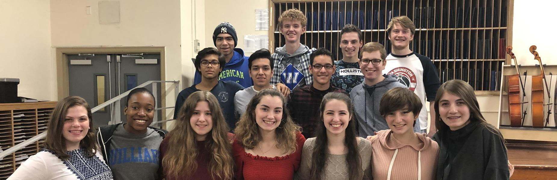 15 Westfield High School student vocalists will perform with the Central Jersey regional chorus in January.  The 15 vocalists are pictured here.