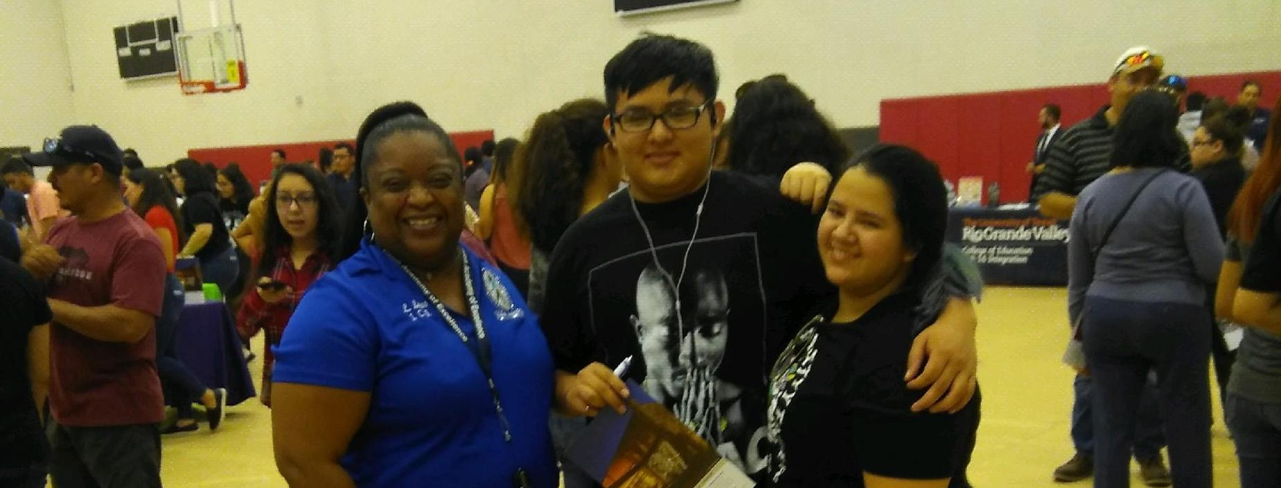 picture of Ms Laws and student Sergio Hinojosa at College Night