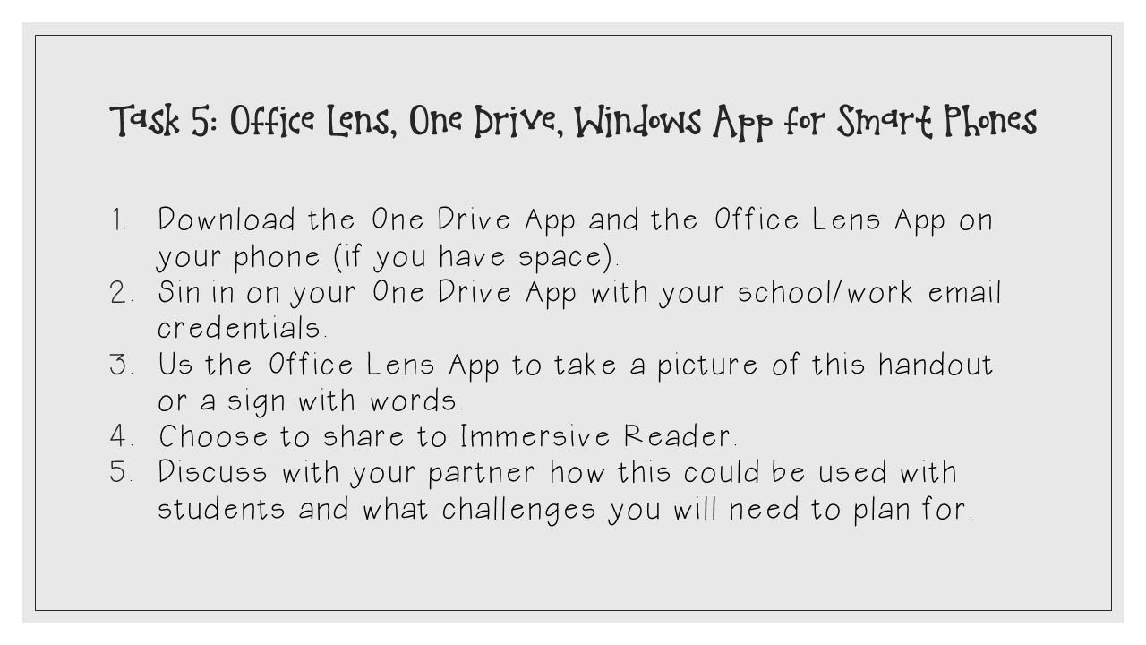 Microsoft Accessibility Tools: Lens and One Drive App