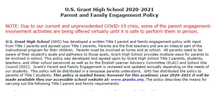 Parent and Family Engagement Policy Featured Photo