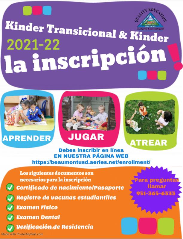 Enrollment registration for 2021-22 spanish