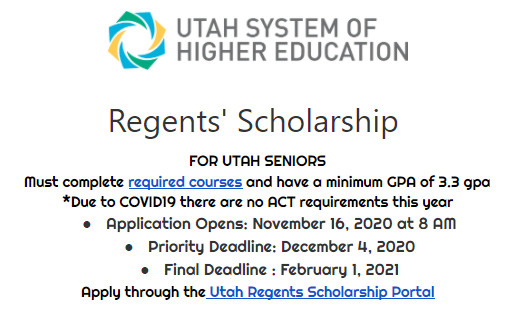 Utah Regents Scholarship