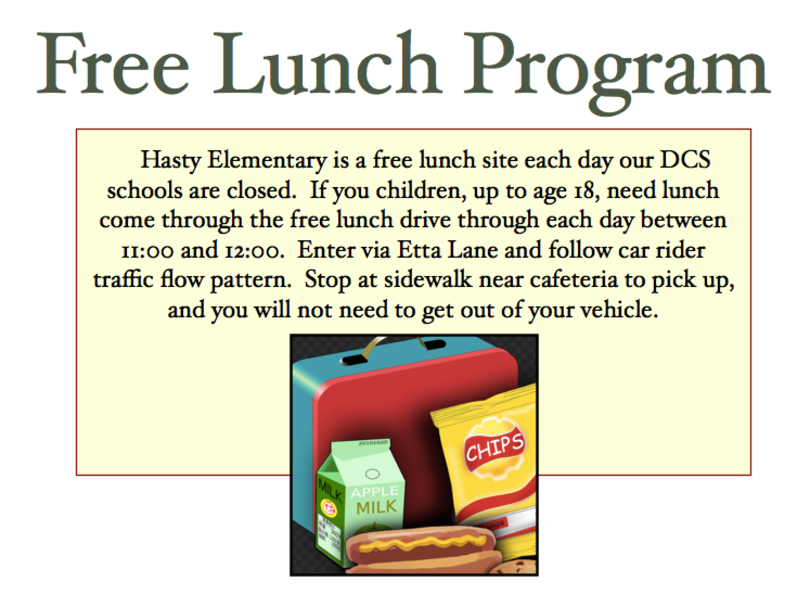 Free Lunch 11-12 daily - drive thru