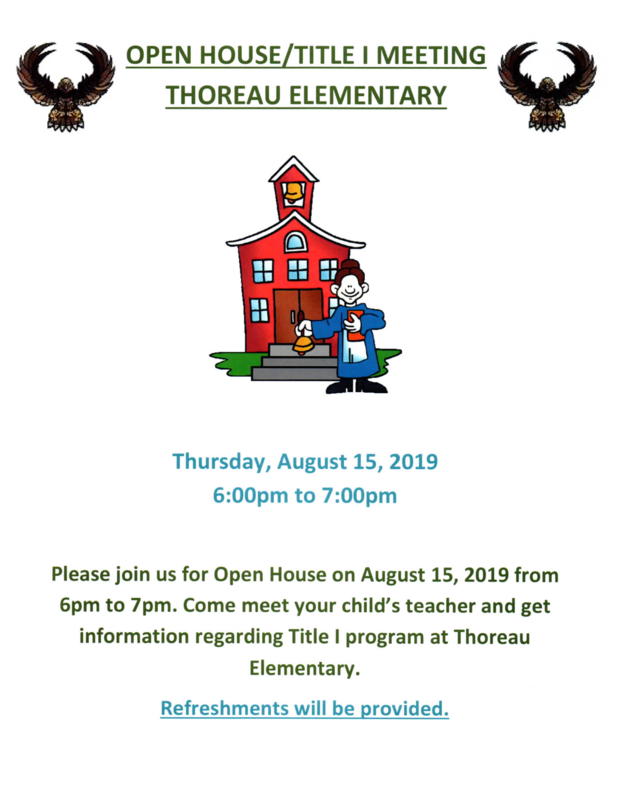 Open House/Title I Meeting: August 15, 2019 Featured Photo