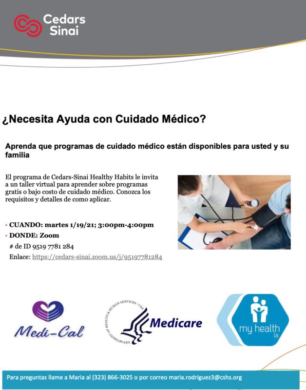 Taller:  ¿Necesita Ayuda con Cuidado Médico? • CUANDO: martes 1/19/21; 3:00pm-4:00pm • DONDE: Zoom Featured Photo