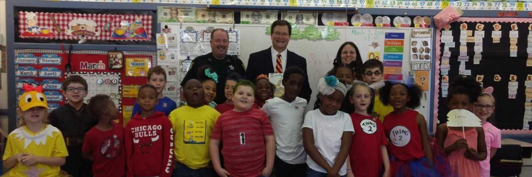 Judge Christopher Patterson with Mrs. Nolen's class