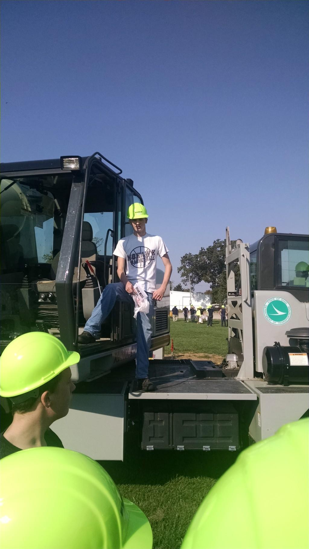 Student operating heavy construction equipment