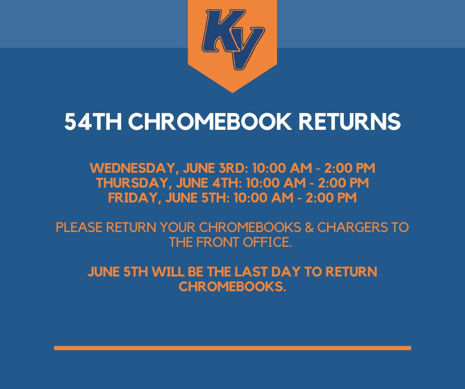 Chromebook Return Schedule-Esp