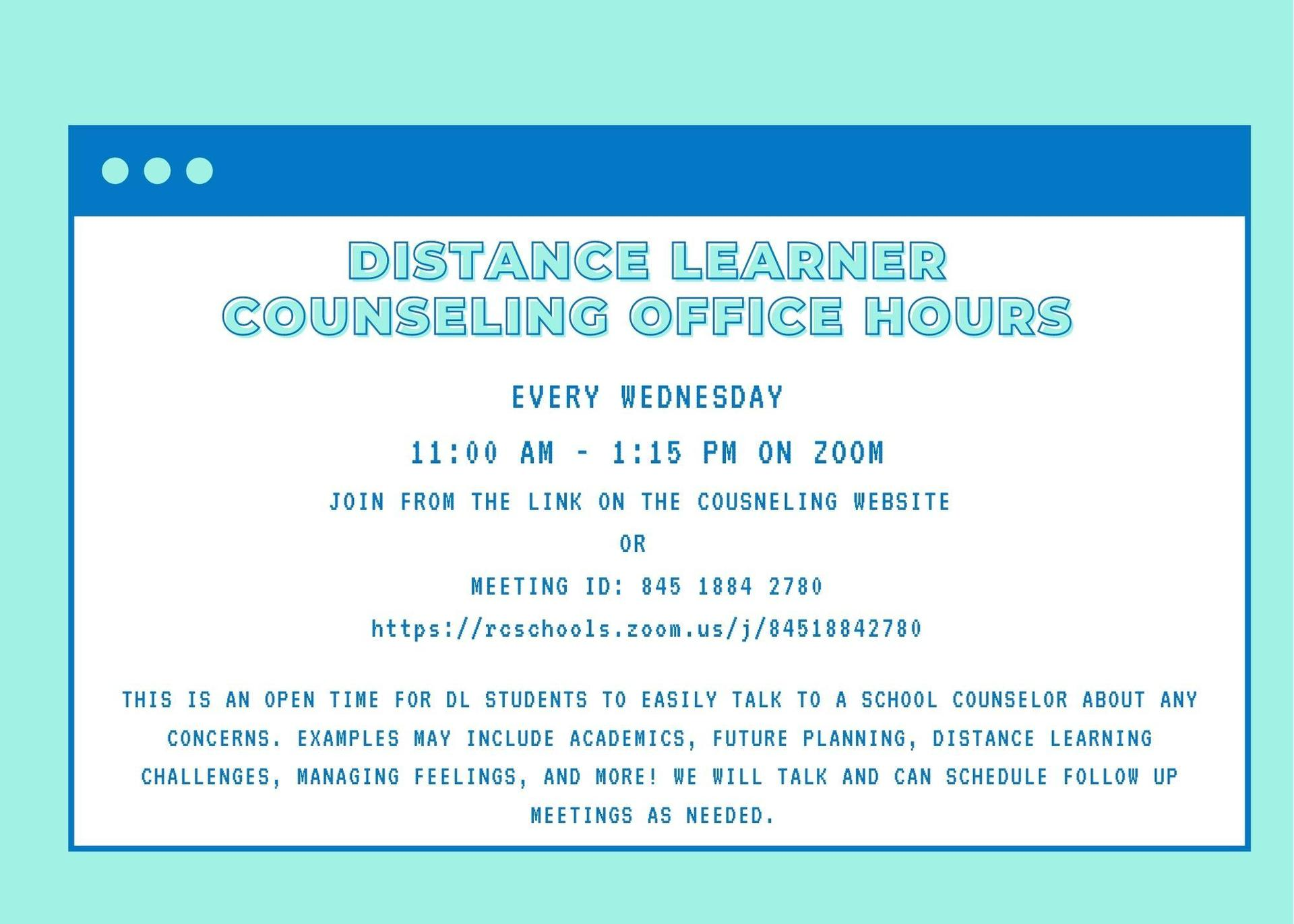 Distance Learning Office Hours
